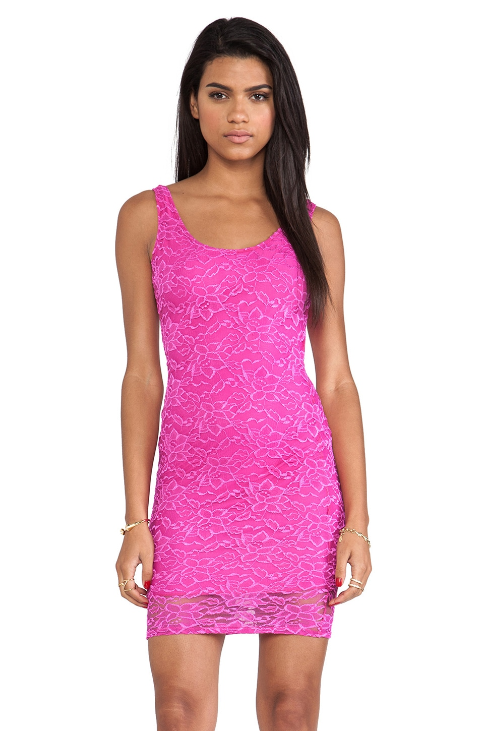 Donna Mizani Passion Lace Scoop Back Dress in Fuchsia