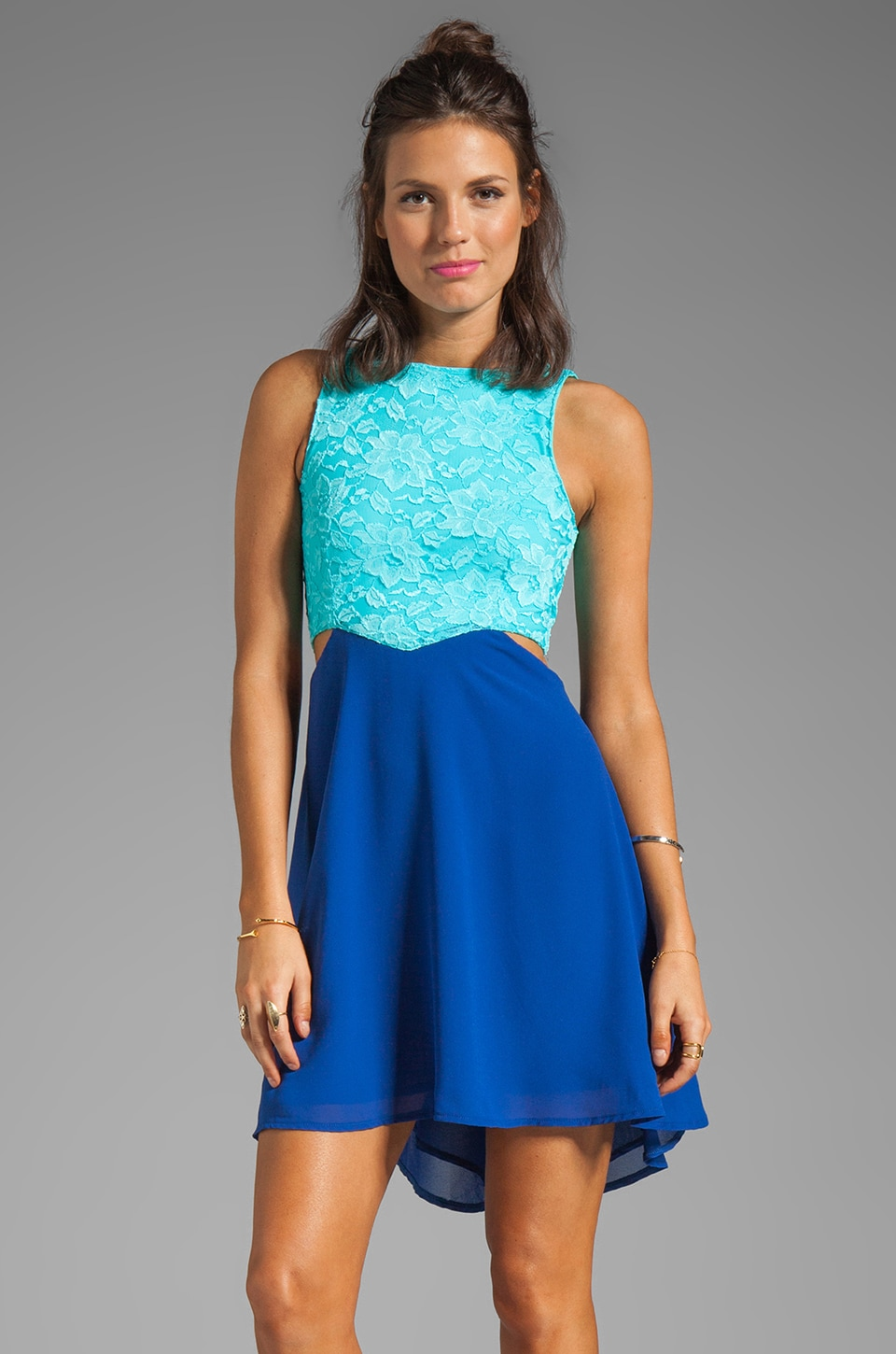 Donna Mizani Passion Lace Dress in Aqua/Royal
