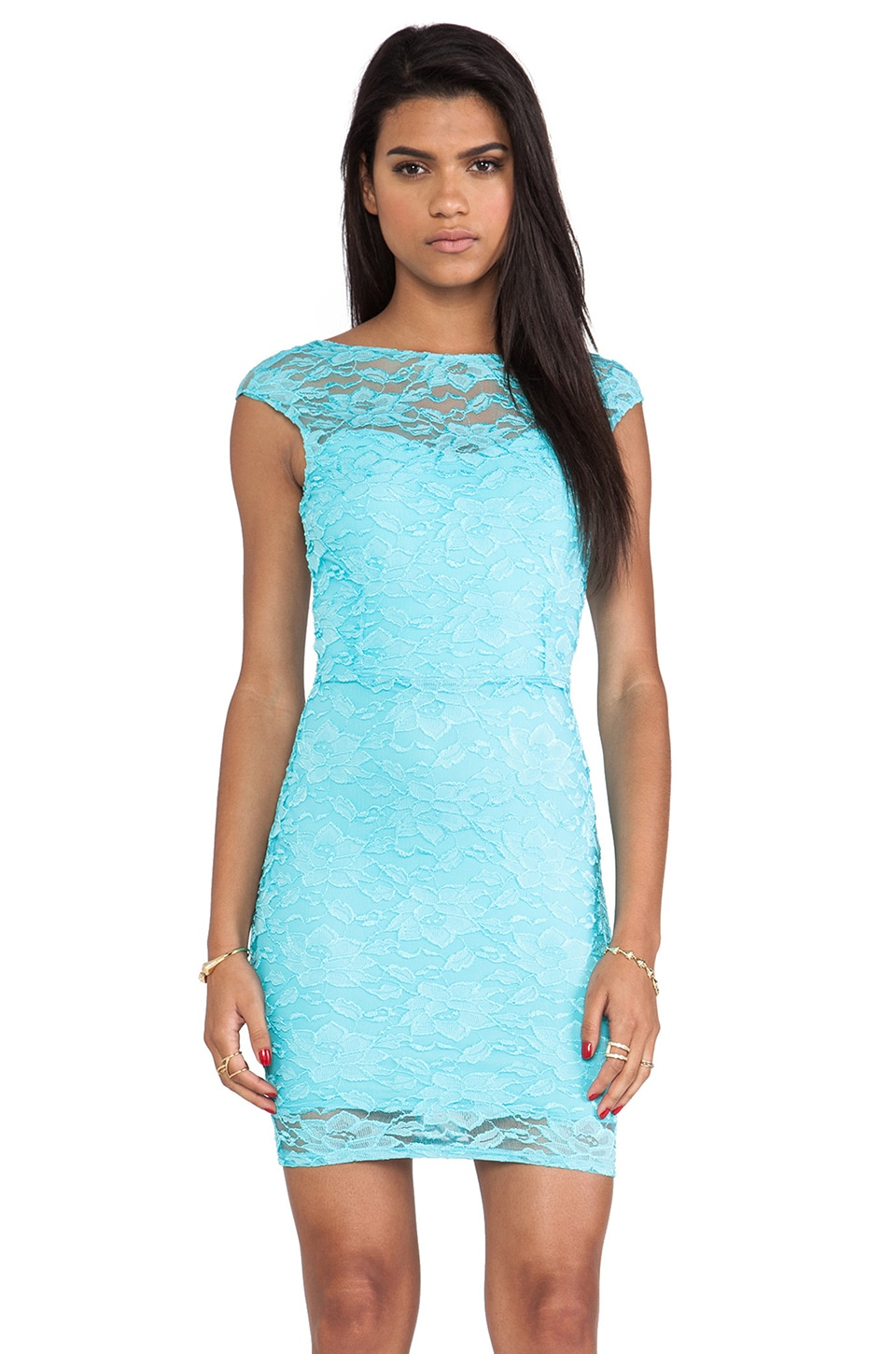 Donna Mizani Passion Scoop Back Dress in Aqua
