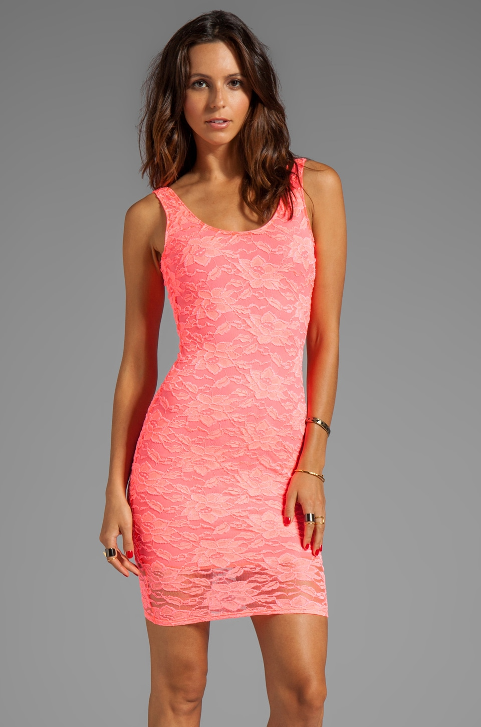 Donna Mizani Passion Scoop Back Dress in Hot Coral