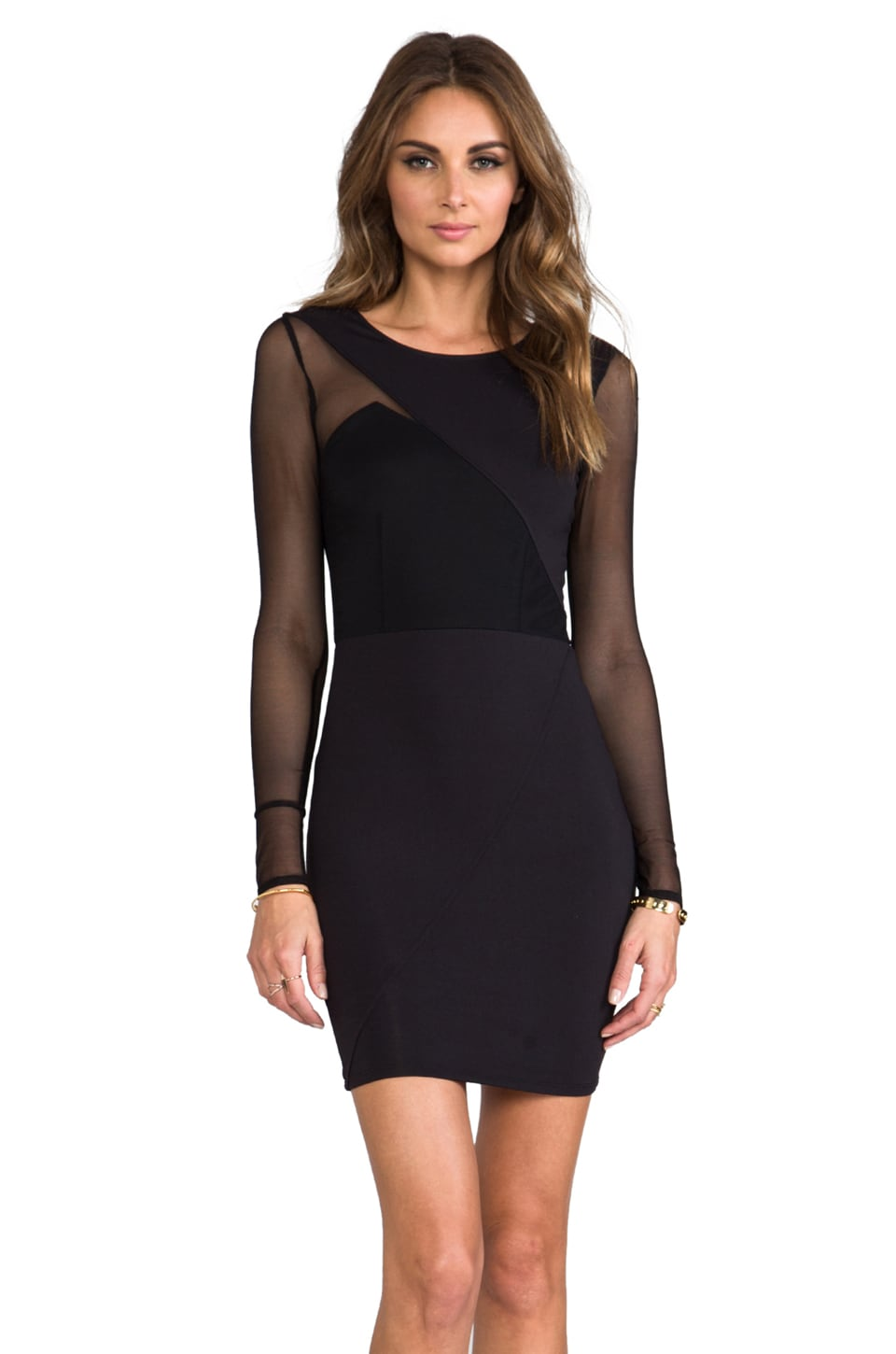 Donna Mizani Long Sleeve Splice Dress in Caviar