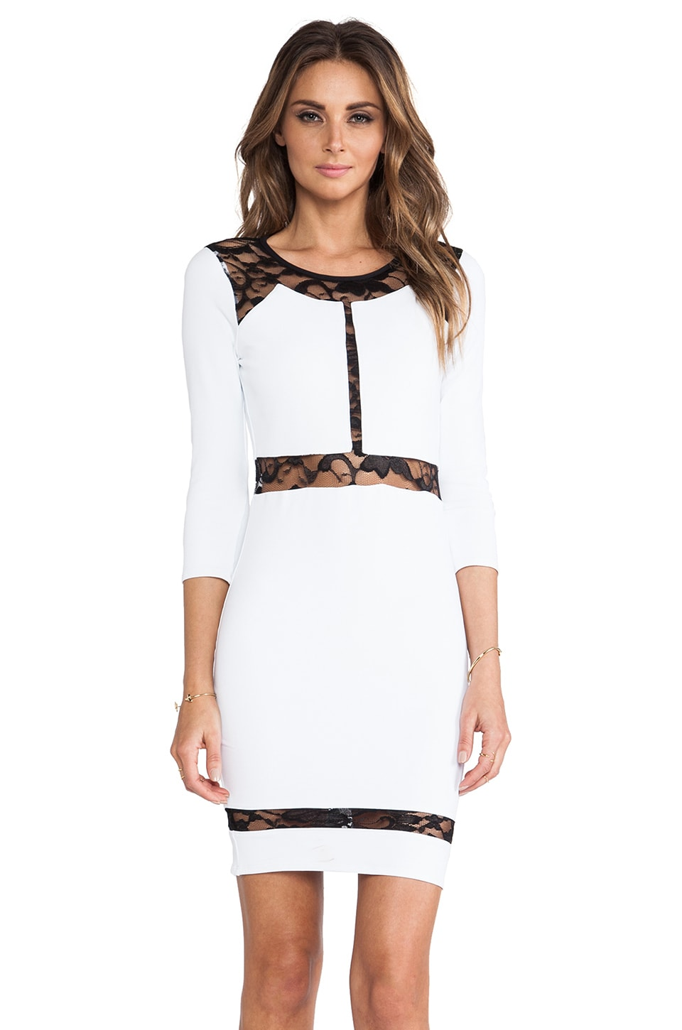 Donna Mizani Paneled Lace Dress in Bright White