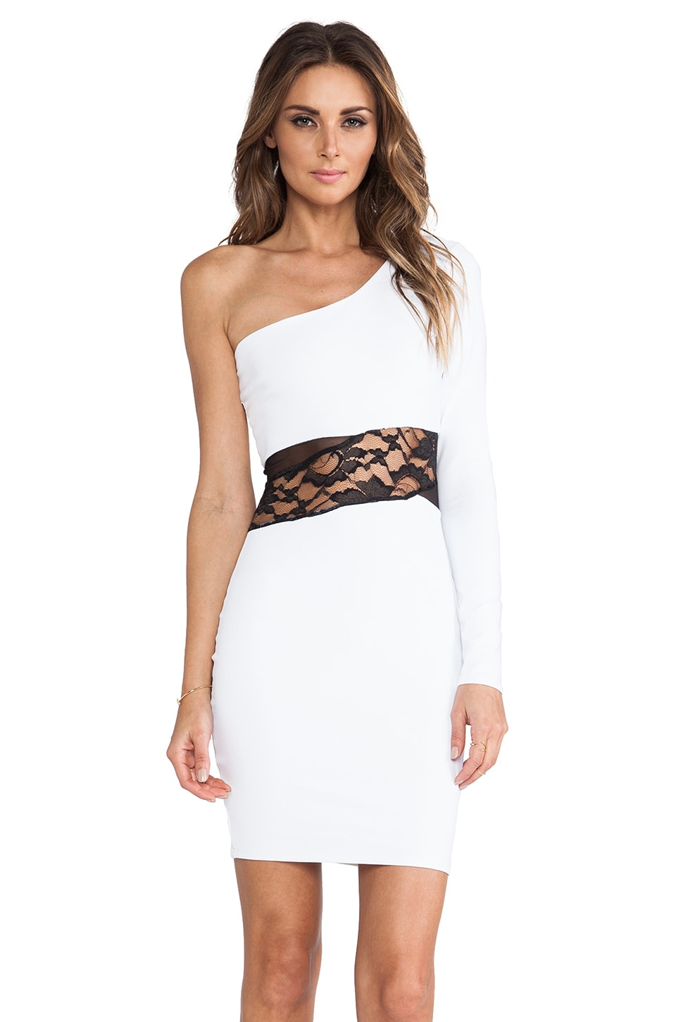 Donna Mizani One Shoulder Mini Dress in White