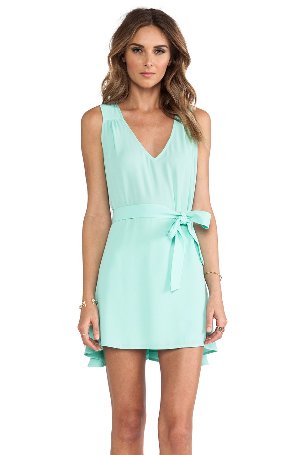 Donna Mizani Side Tie Flounce Dress in Mint Cream