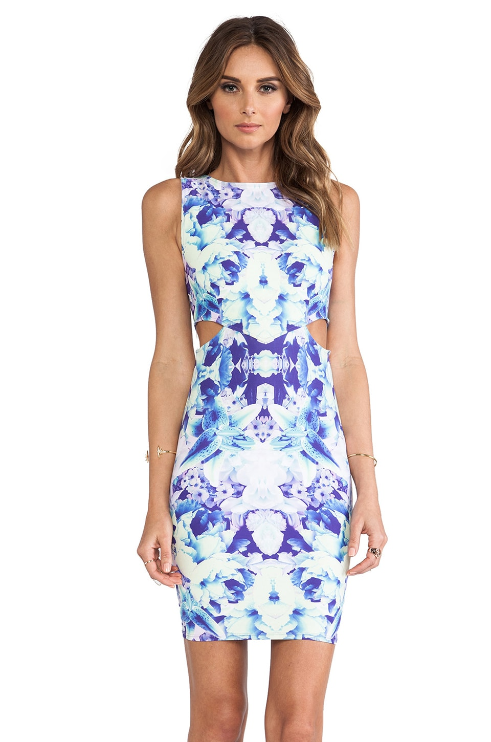 Donna Mizani Cut Out Mini Dress in Iris