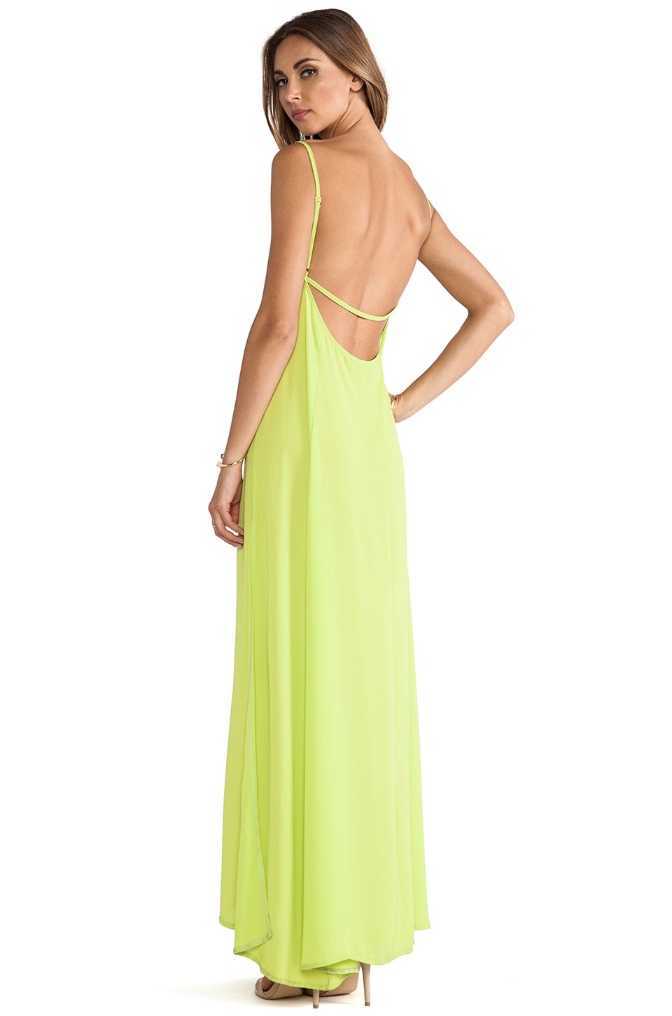 Donna Mizani Trapeze Gown in Electric Lime