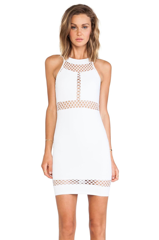 Donna Mizani Paneled Halter Dress in White
