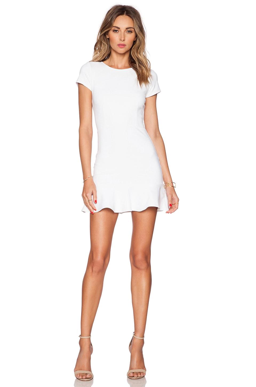 Donna Mizani Cap Sleeve Ruffled Mini Dress in White  REVOLVE