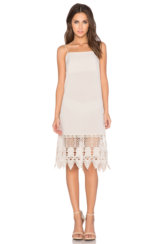 Donna Mizani Crochet Slip Dress in Beige