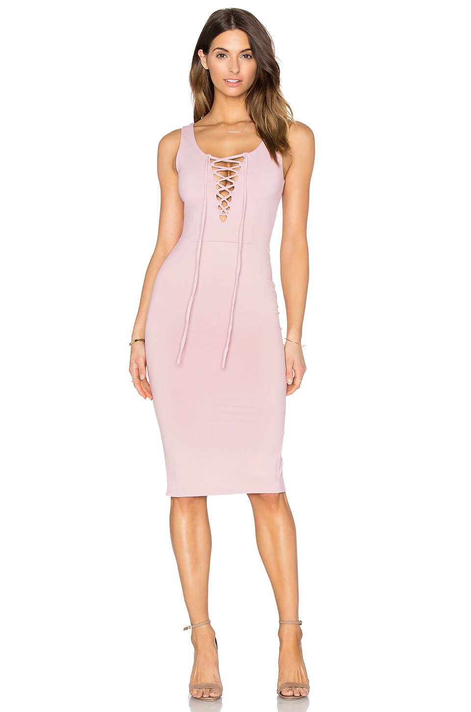 Lace Up Midi Dress by Donna Mizani