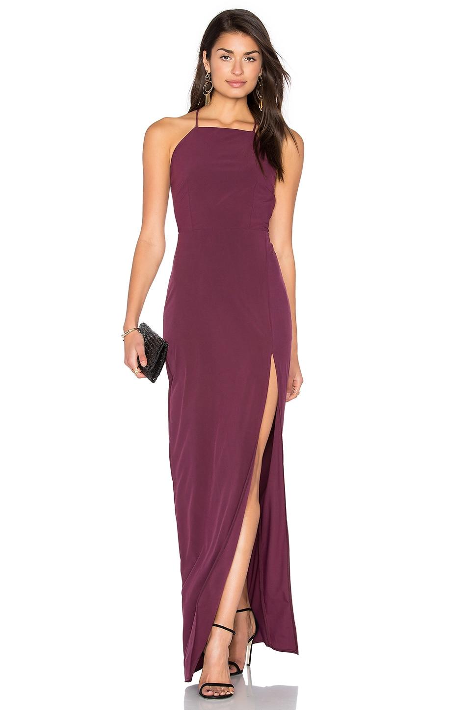 Donna Mizani Square Neck Maxi Dress en Aubergine