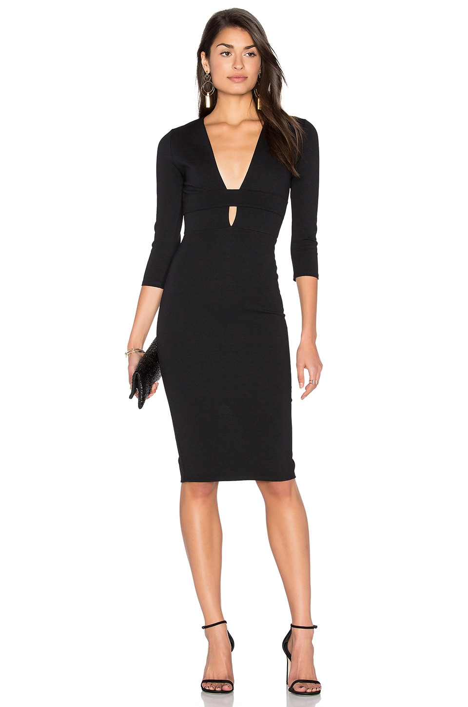 Banded Deep V Midi Dress by Donna Mizani