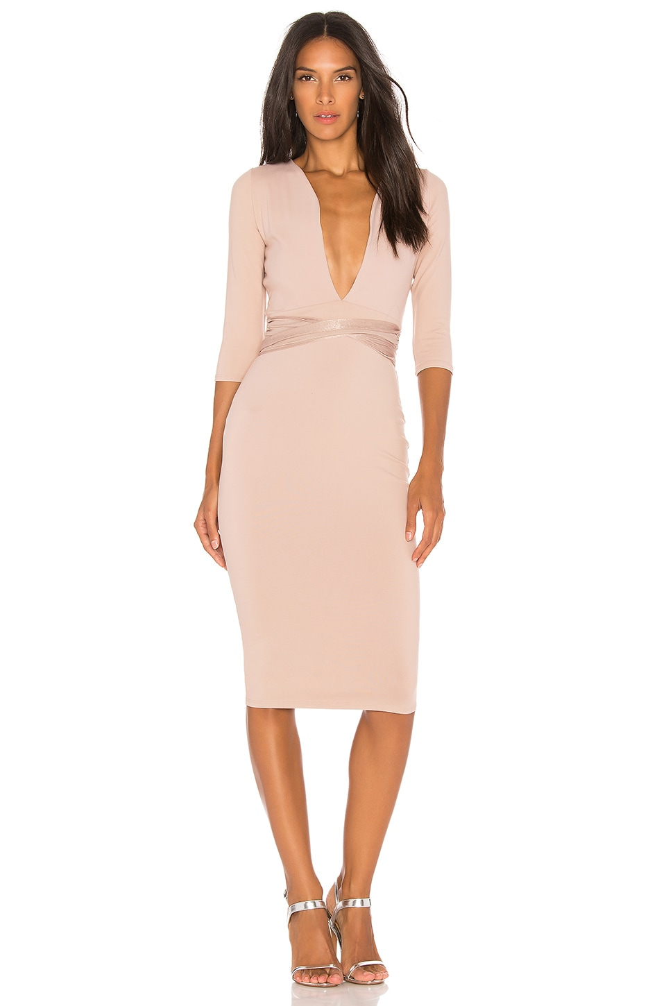 Donna Mizani Luciana Midi Dress in Nude