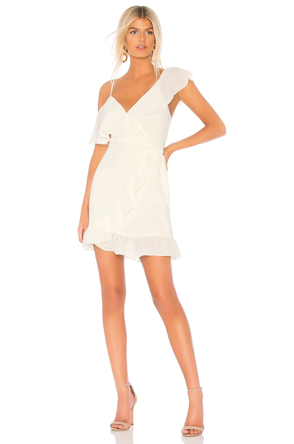 DONNA MIZANI SELENA V-NECK FAUX-WRAP RUFFLED PEBBLED GEORGETTE MINI DRESS