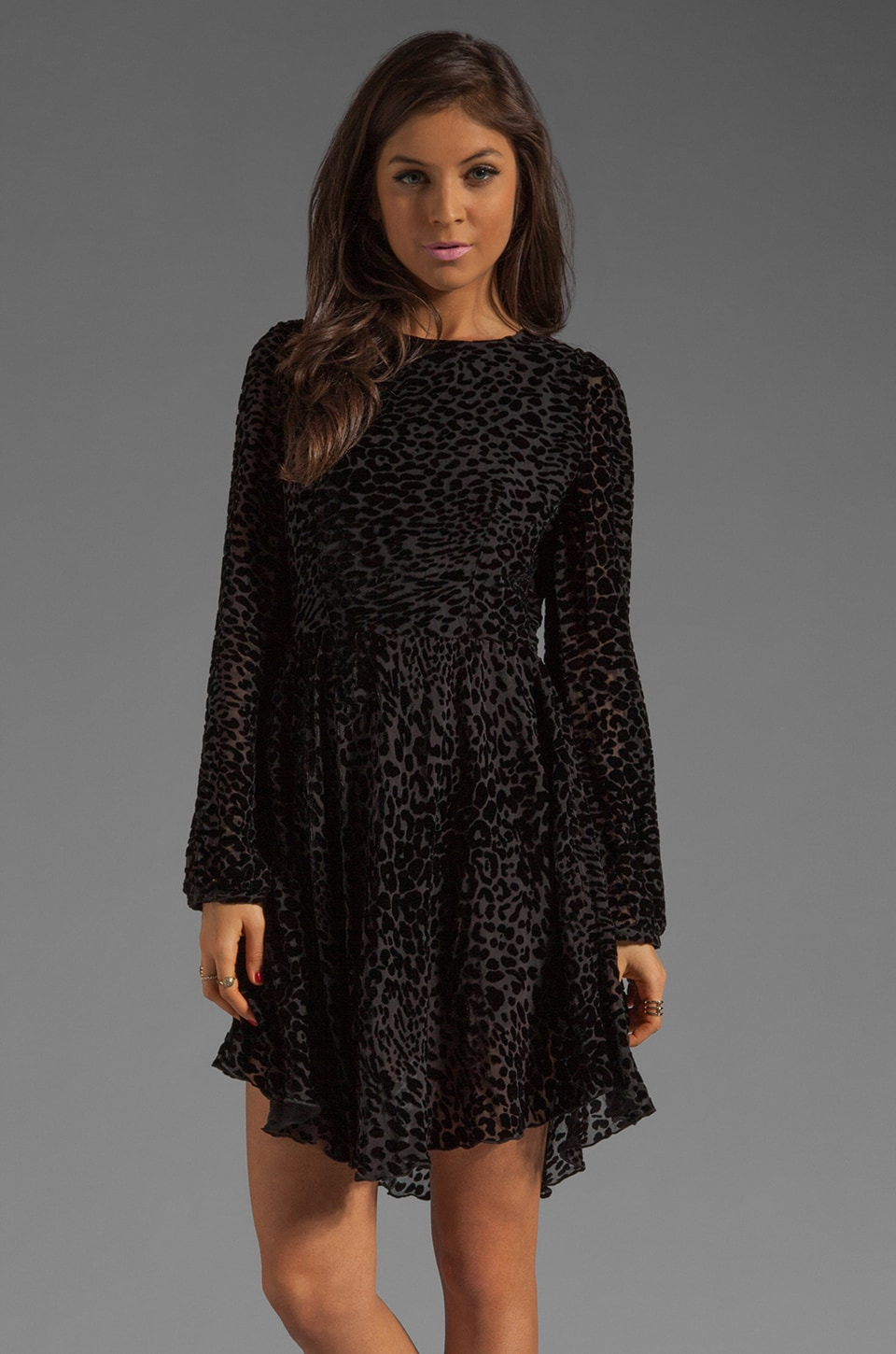Donna Mizani Leopard Darling Sleeve Skate Dress in Black
