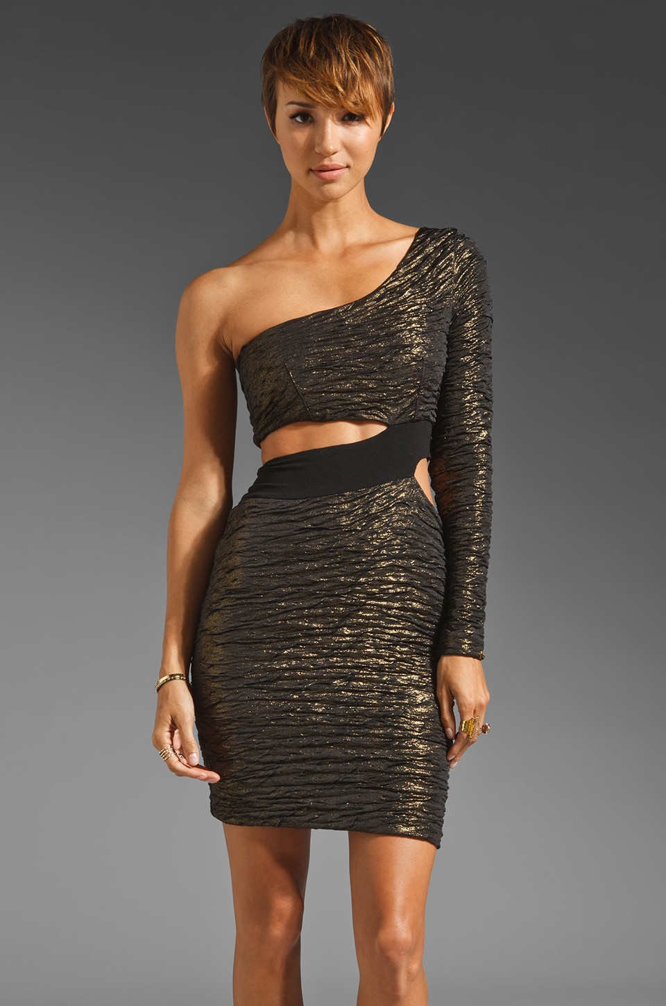 Donna Mizani Foiled Cut Out Dress in Gold Foiled