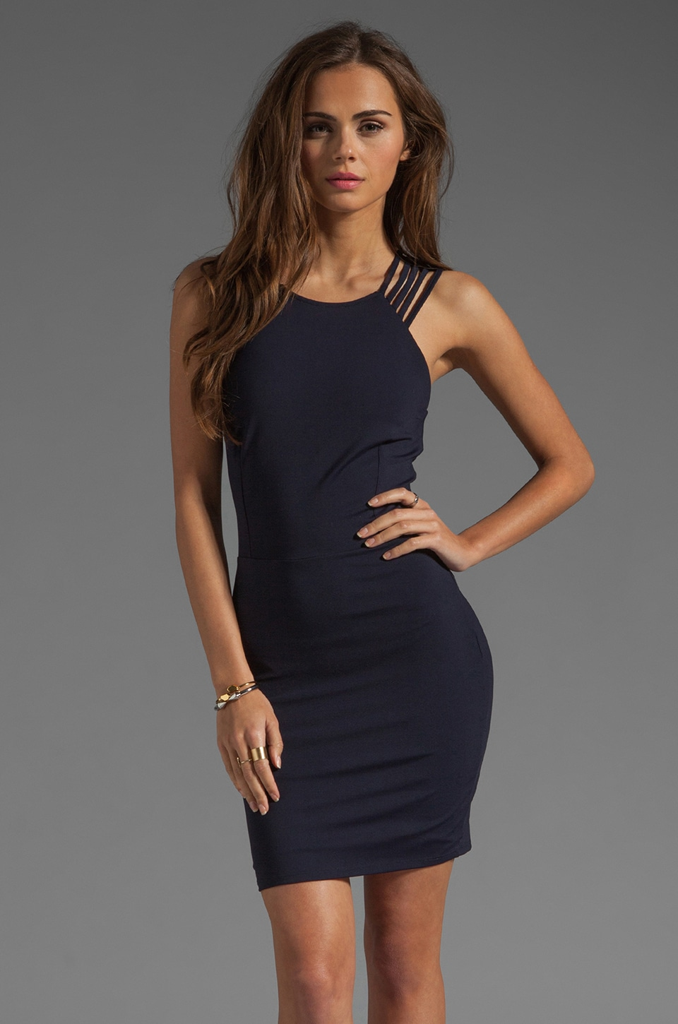 Donna Mizani Ultra Soft Multi Strap Dress in Navy