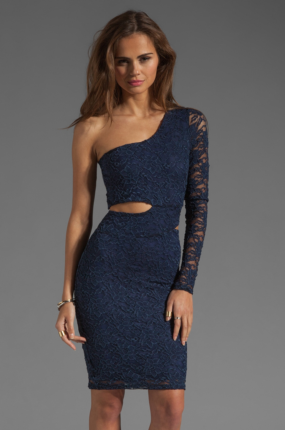 Donna Mizani Passion Lace Classic Cut Out Dress in Navy