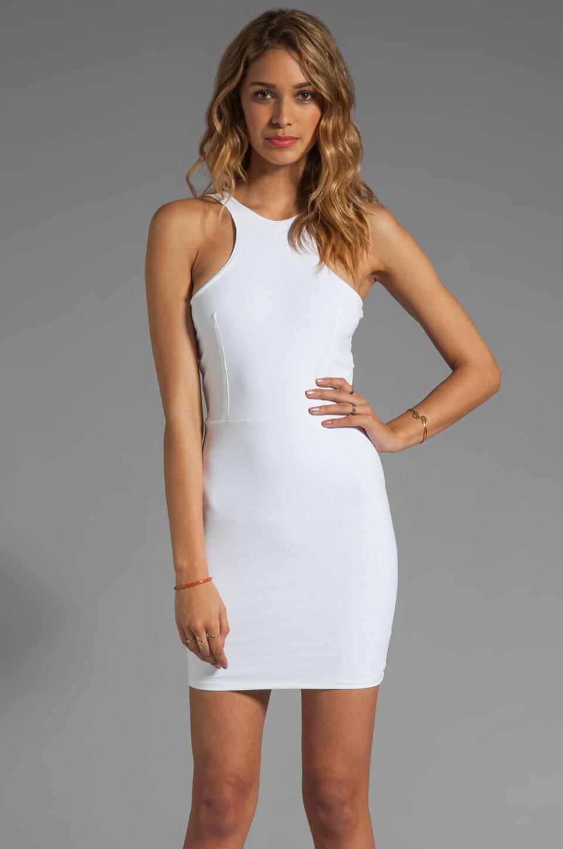 Donna Mizani Ultra Soft Back Yoke Cut Out Dress in White