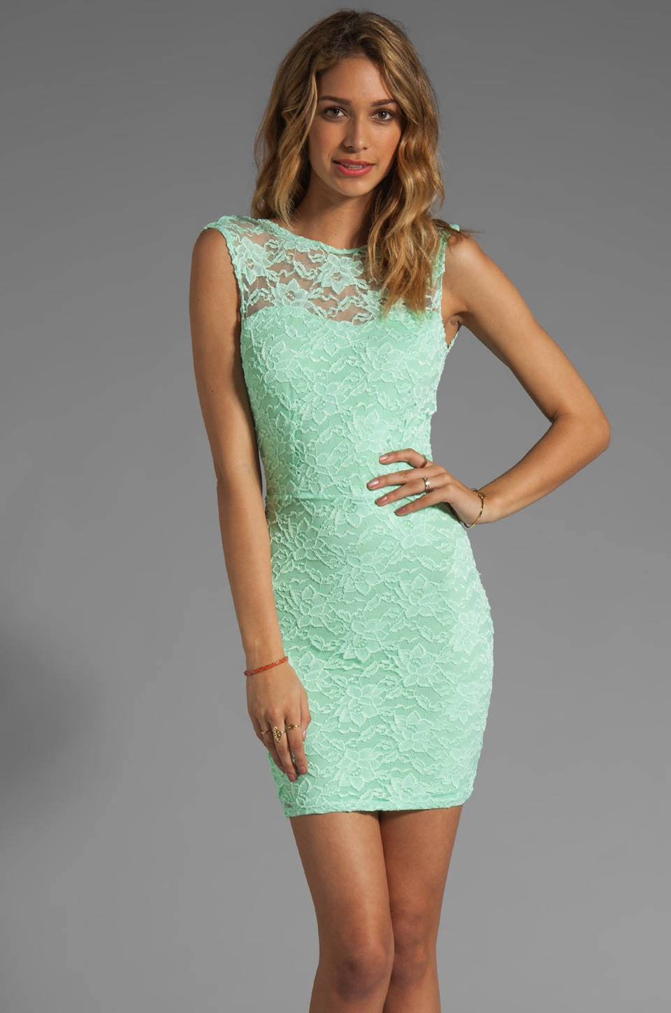 Donna Mizani Passion Lace Boat Neck Dress in Mint