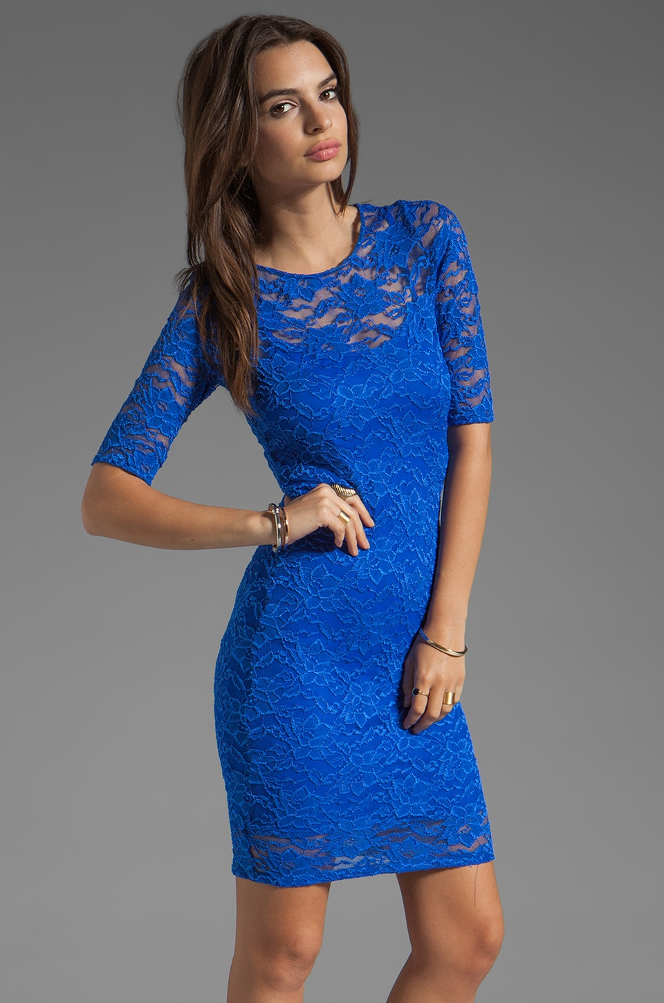 Donna Mizani Passion Lace Half Sleeve Dress in Cobalt