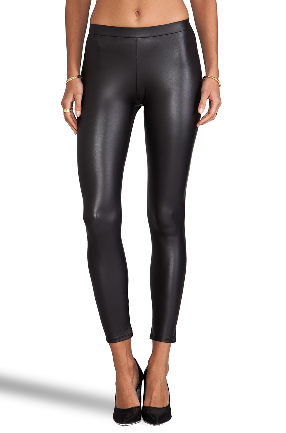 Donna Mizani Black Leatherette Legging in Black Leatherette