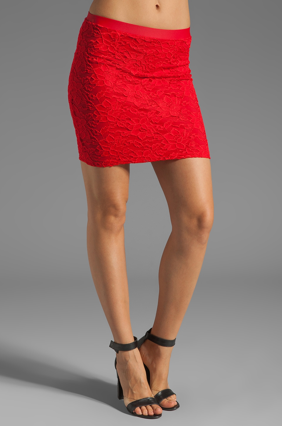 Donna Mizani Passion Lace Skirt in Red