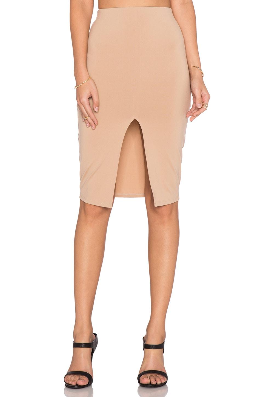 Front Slit Midi Skirt by Donna Mizani