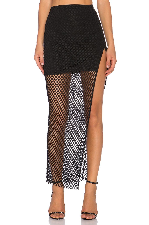 Donna Mizani Diamond Long Slit Skirt in Black