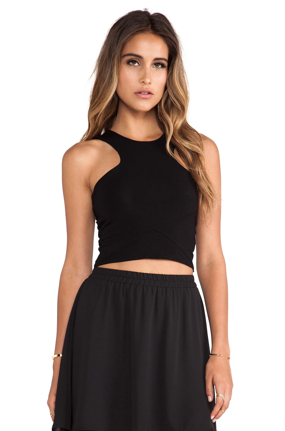 Donna Mizani Racer Front Crop Top in Black