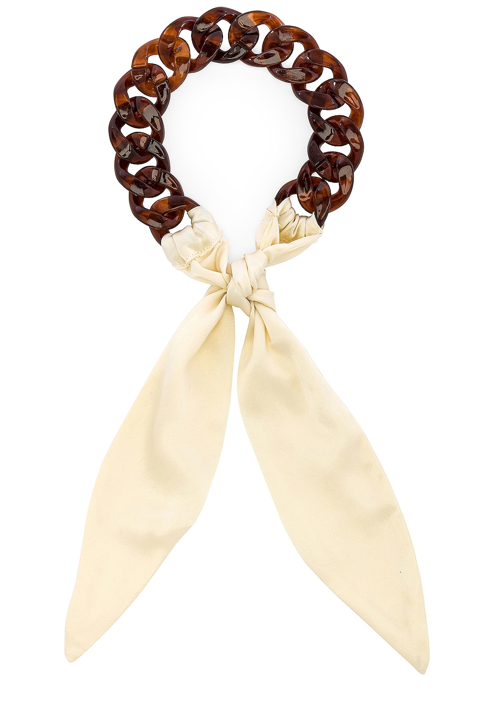 DONNI. Tortoise Silk Tie Headband in Creme