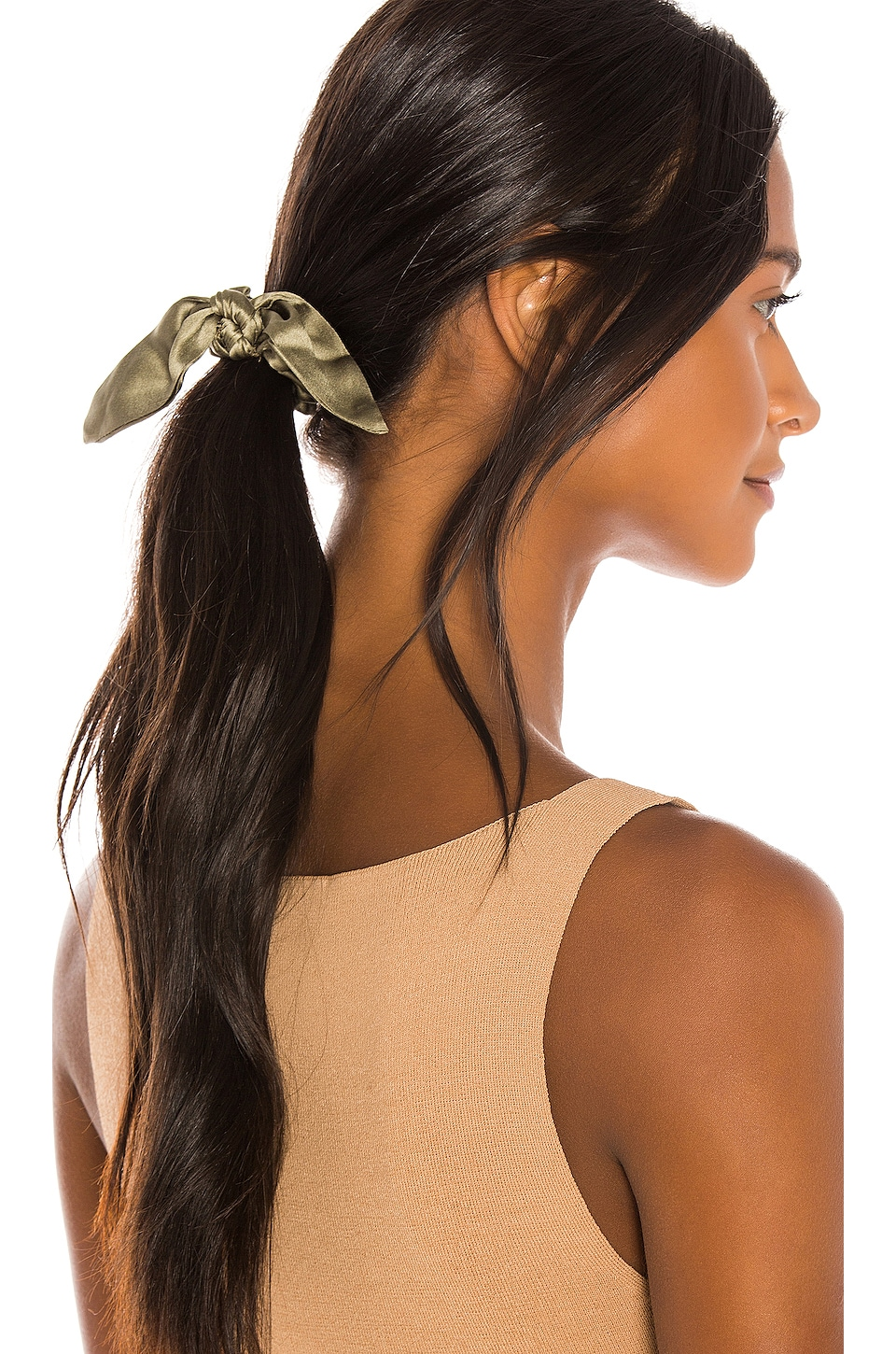 DONNI. Silk Chiquita Scrunchie in Olive
