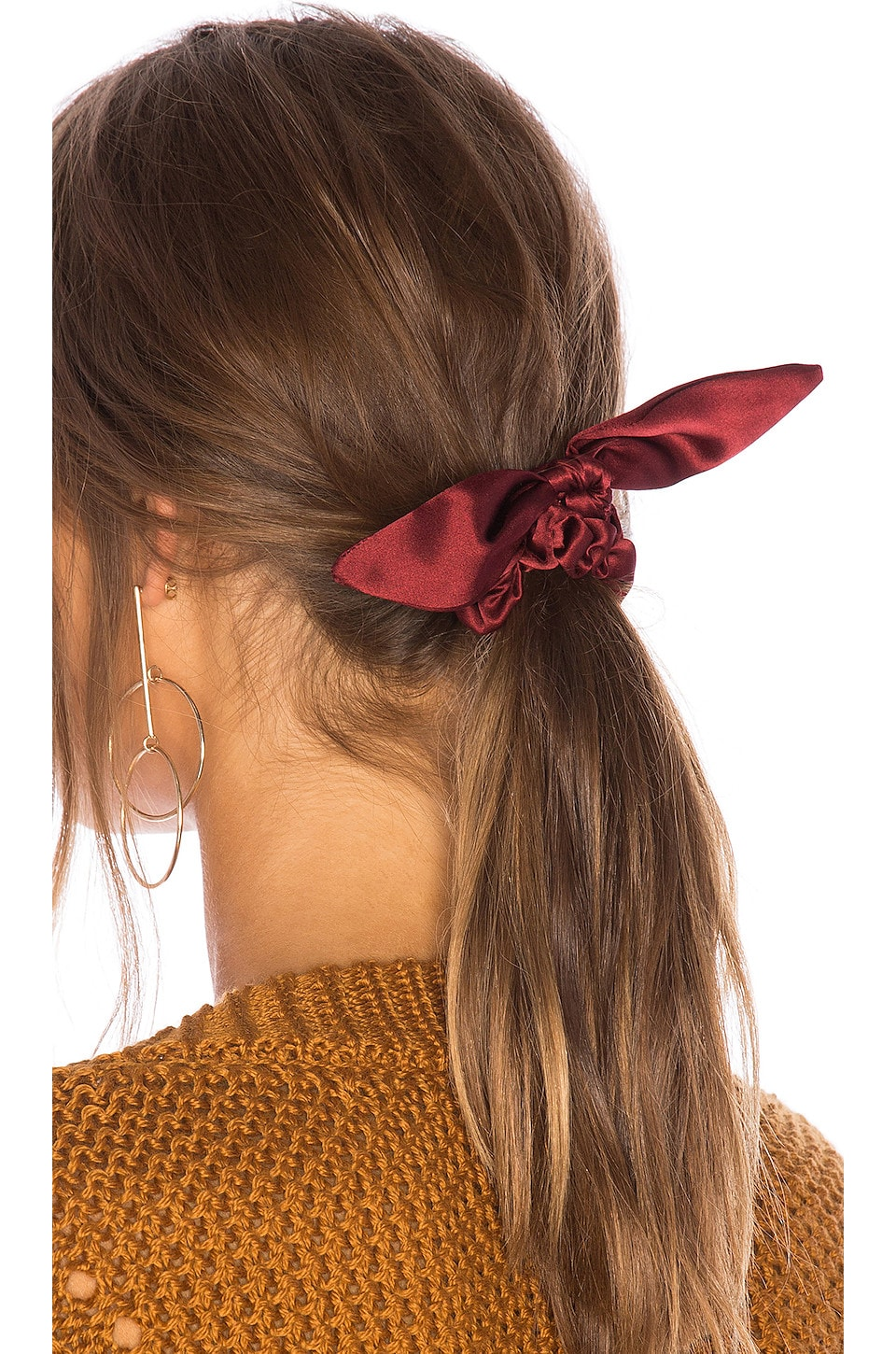 DONNI. Chiquita Silk Scrunchie in Burgundy