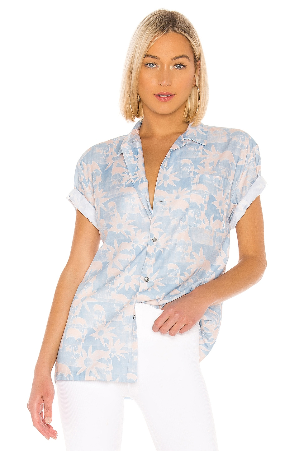 DOUBLE RAINBOUU Hawaiian Shirt in Paradise City Pink