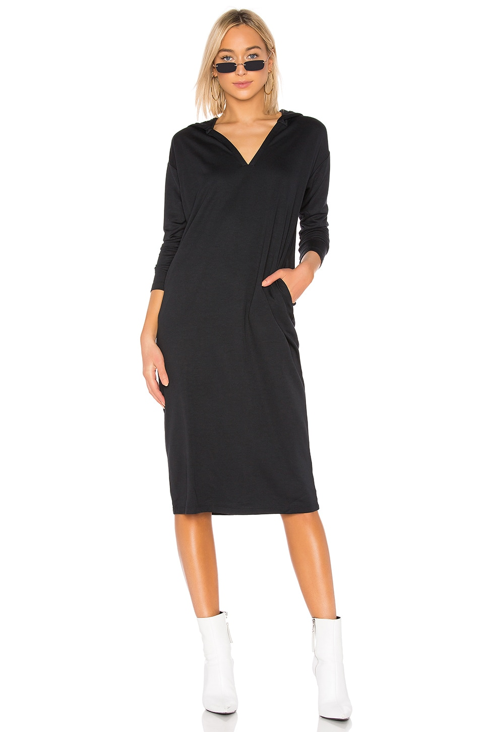 Dr. Denim Ivy Hood Dress in Black