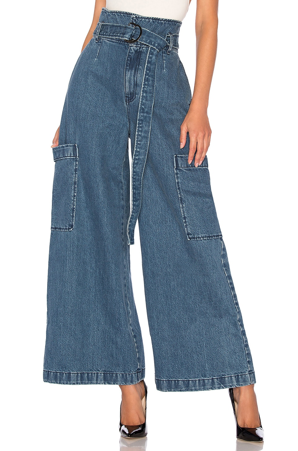 Dr. Denim High Waist Roni Trouser Jean in Mid Blue Wash
