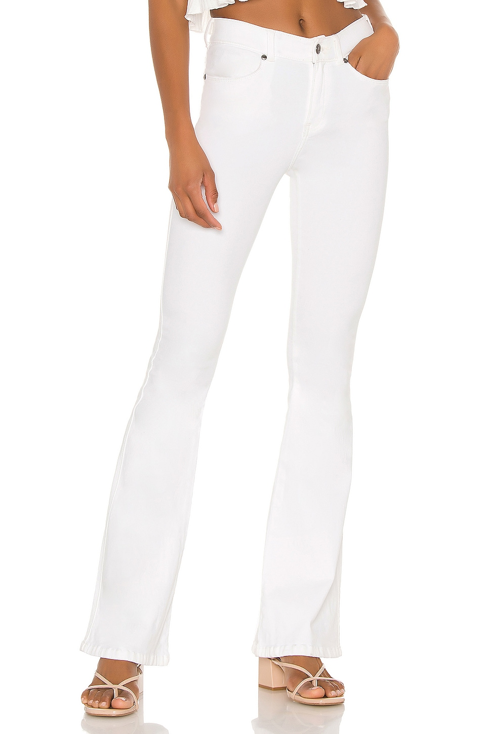 Dr. Denim Macy Flare in White with Rips