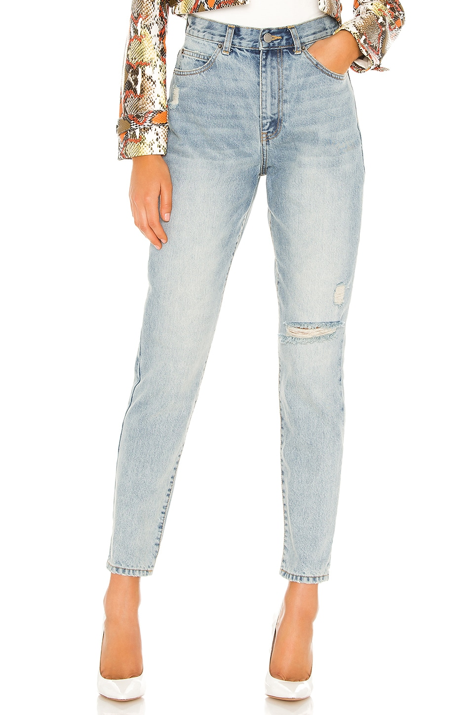 Dr. Denim Nora Straight in Downtown Blue Ripped