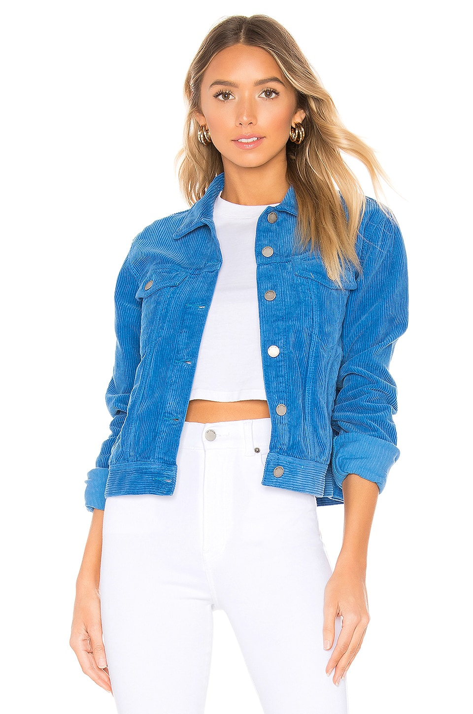 Dr. Denim Viva Corduroy Trucker Jacket in Electric Blue Cord