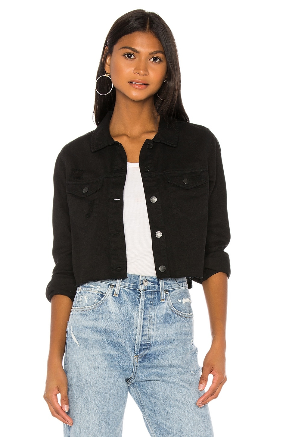 Dr. Denim Jeanie Jacket in Black Ripped