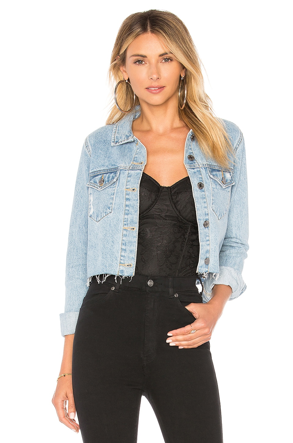 Dr. Denim Jeanie Jacket in Light Retro Ripped