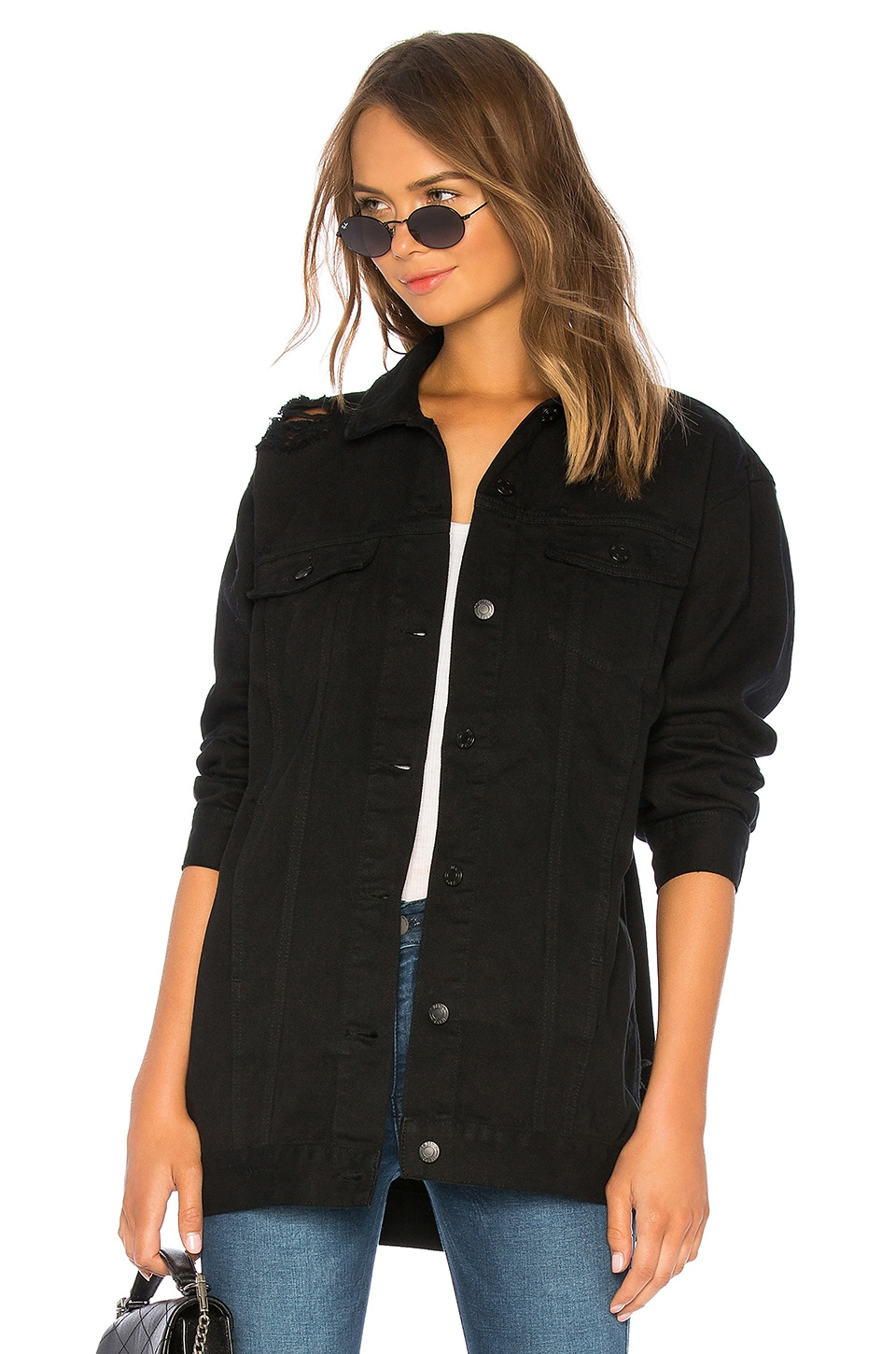 Dr. Denim Lindso Denim Jacket in Black Damaged