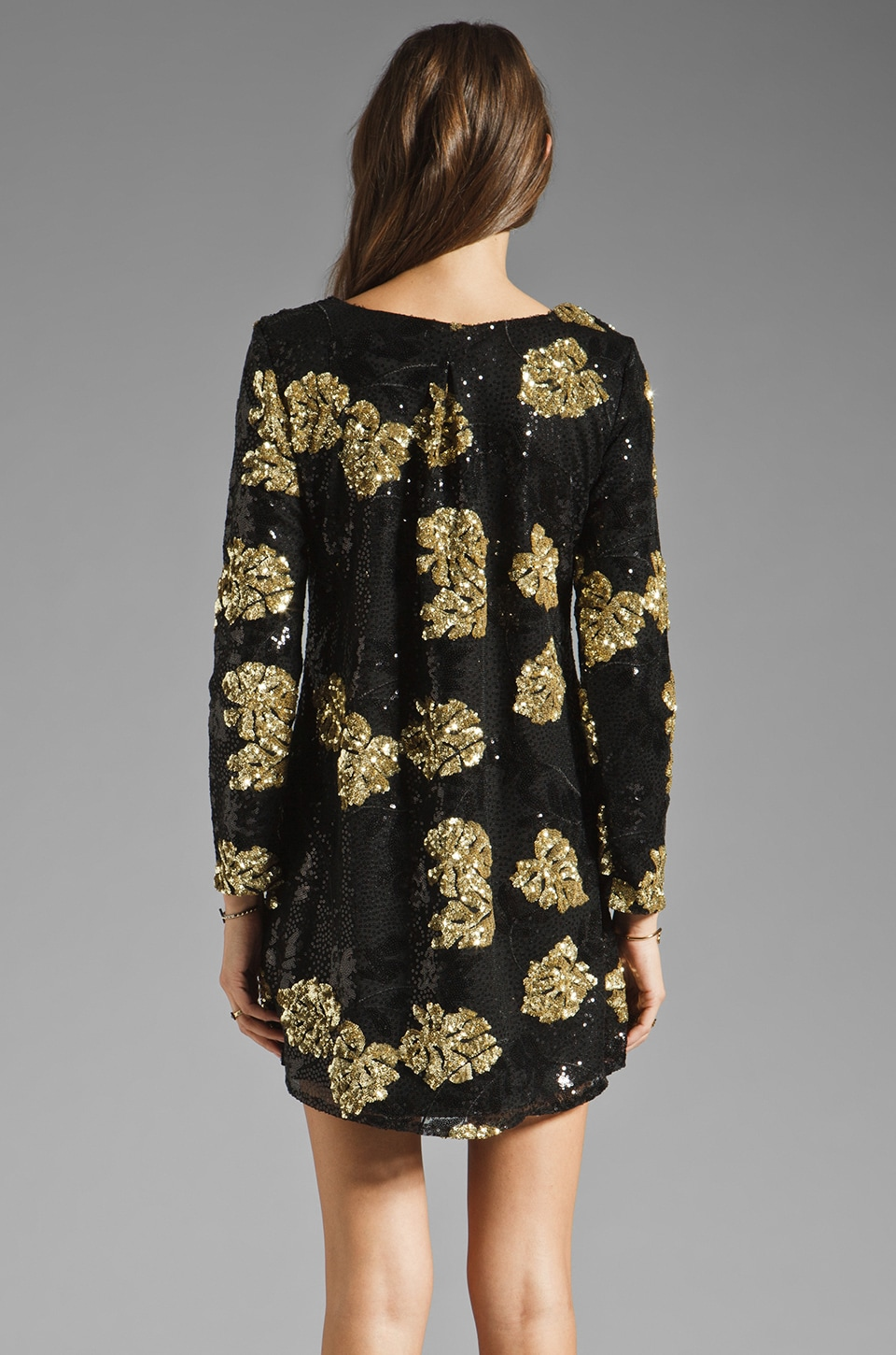 DRESS THE POPULATION Ellen Long Sleeve Chiffon Dress in Gold/Black