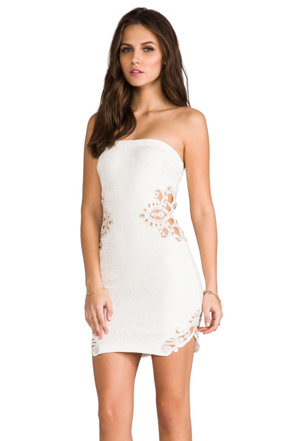 DRESS THE POPULATION Caitlyn Strapless Crochet Dress with Crochet Inserts in Ivory