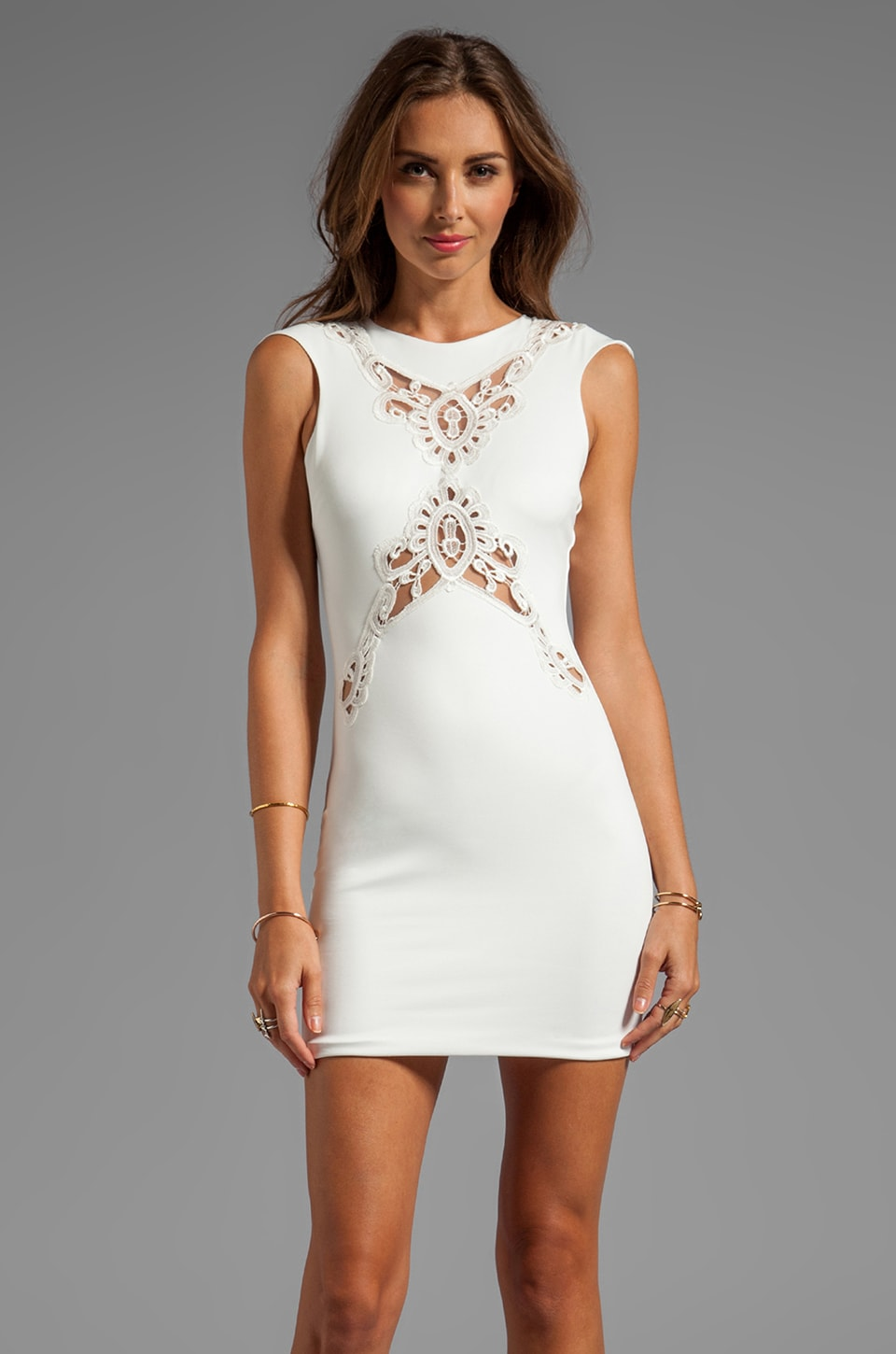 DRESS THE POPULATION Ivy Cap Sleeve Dress with Front and Back Crochet Detail in Ivory