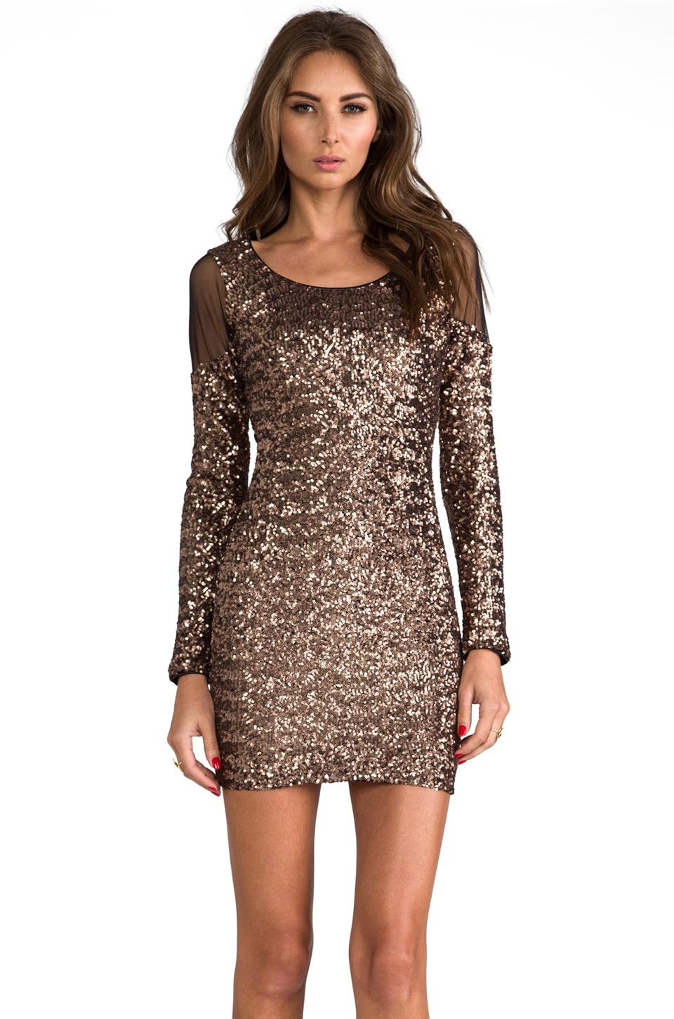 DRESS THE POPULATION Jaden Cut Out Dress in Copper