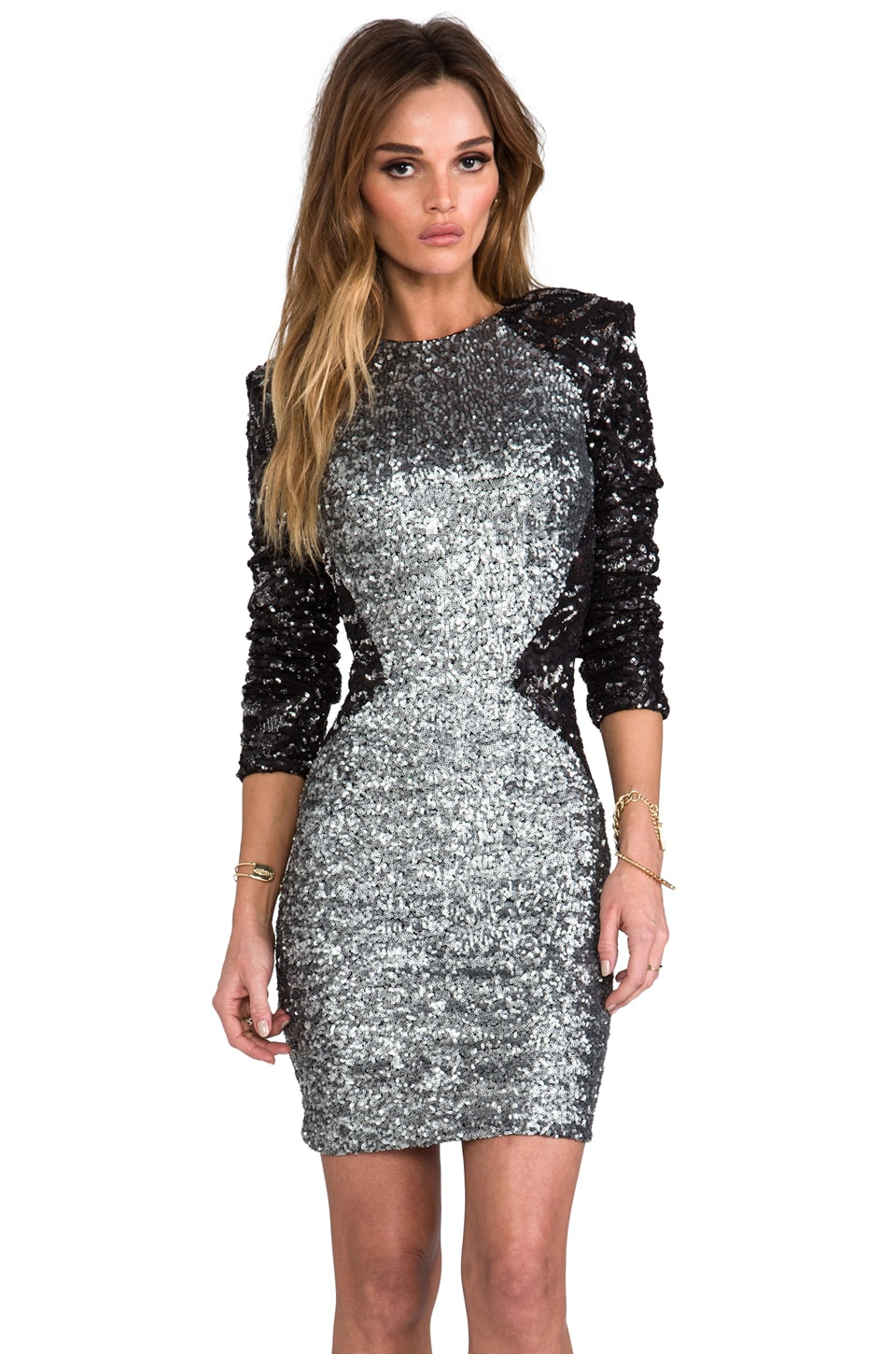 DRESS THE POPULATION x REVOLVE Kim Sequin Illusion Dress in Silver/Black
