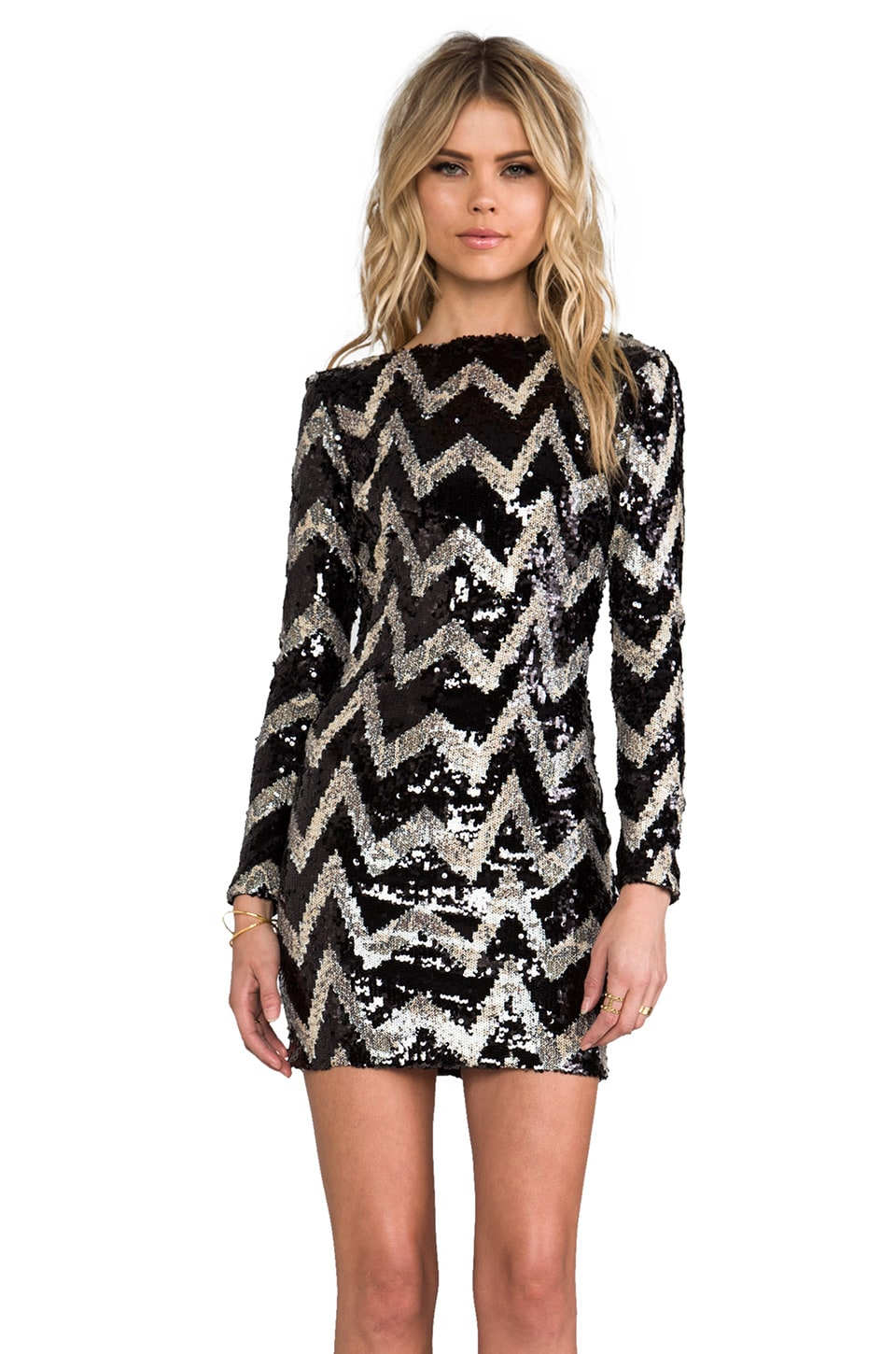 DRESS THE POPULATION Lola Long Sleeve Mini Dress in Black & Tan