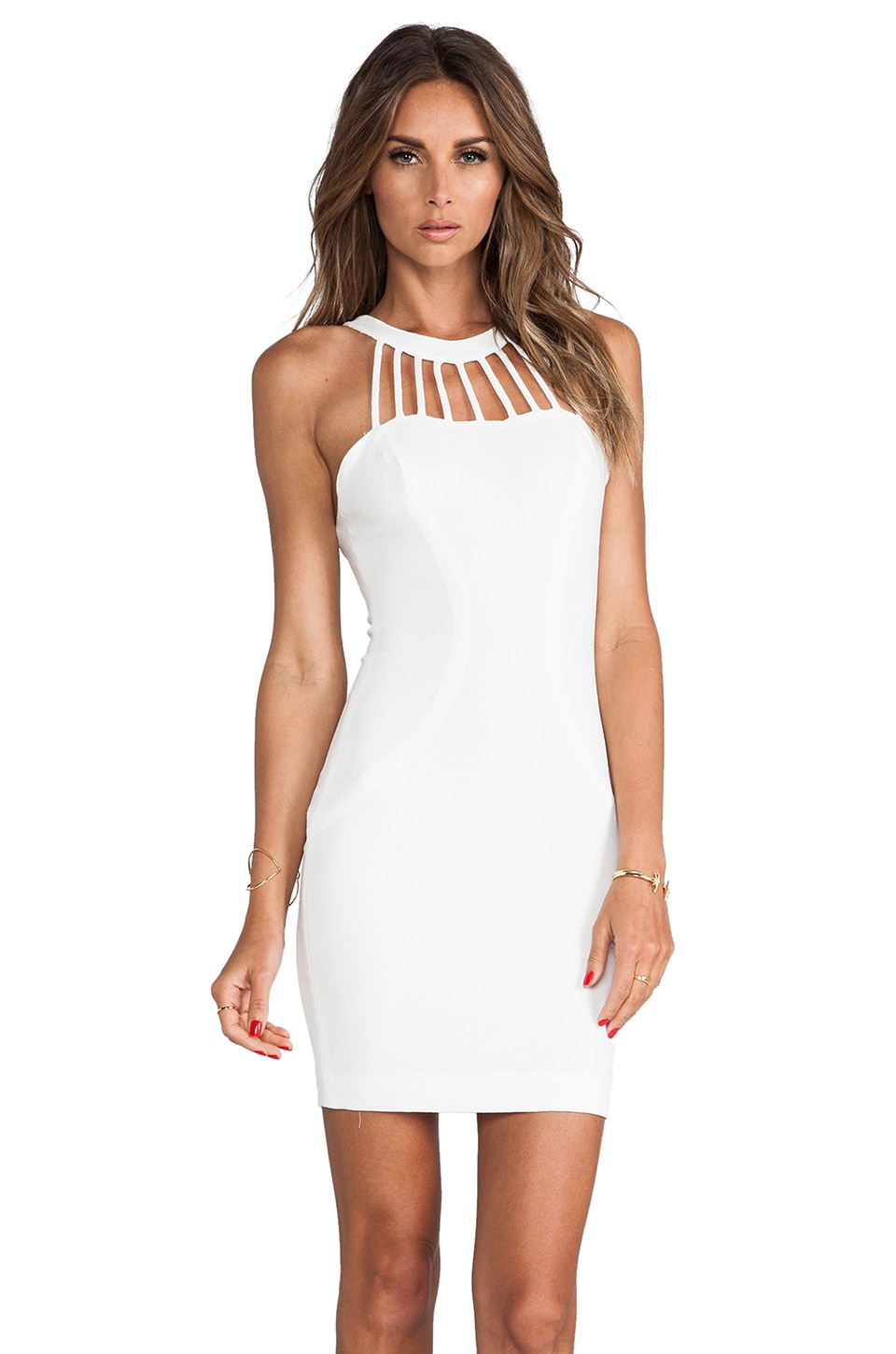 DRESS THE POPULATION Erin Mini Dress in Eggshell