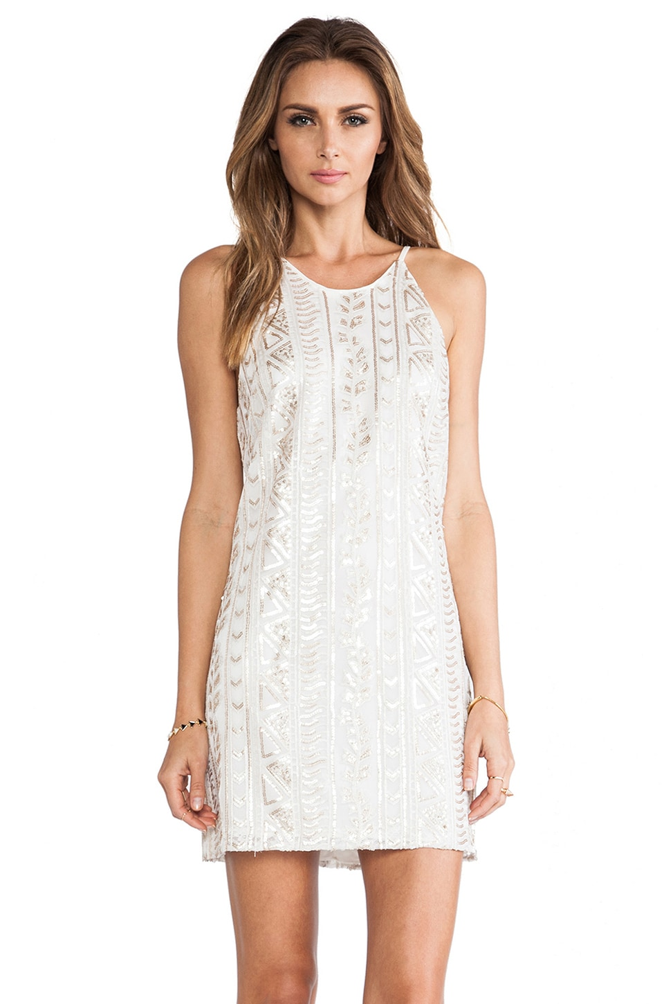 DRESS THE POPULATION Jamie Sequin Tank Dress in White & Gold